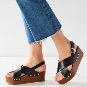 Sam Edelman Black Wood Platform Sandals